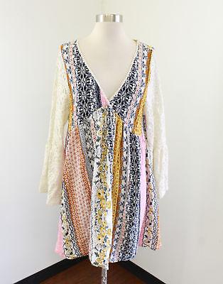 Floral Bell (Kori Floral Striped V-Neck Lace Bell Sleeve Tunic Dress Size L Boho Hippie Pink)