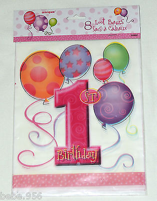 1st Birthday Party Loot Bags - NEW  1st BIRTHDAY GIRLS~ 16-PLASTIC LOOT BAGS , MULTI-COLOR   PARTY SUPPLIES
