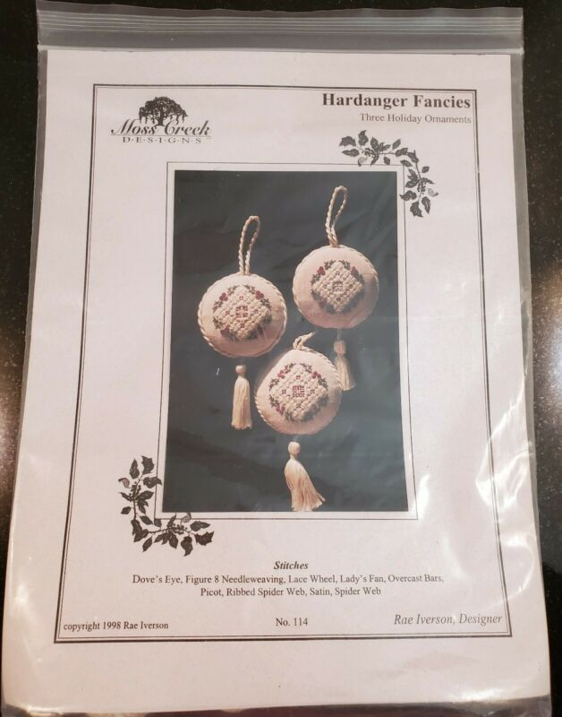 Moss Creek Designs Hardanger Fancies Three Holiday Ornaments kit 114 Rae Iverson