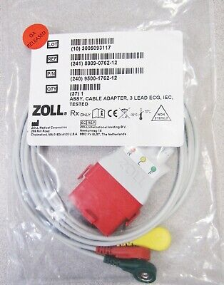 Zoll 8009-0762-12 Assy Cable Adapter 3 Lead Ecg Iec Eu New