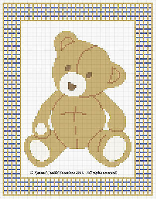 Baby Bear Counted Cross Stitch Pattern Chart Easy