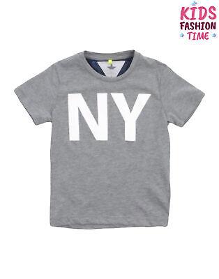 MACCHIA J T-Shirt Top Size 8Y Melange Effect Coated 'NY' Short Sleeve Crew Neck