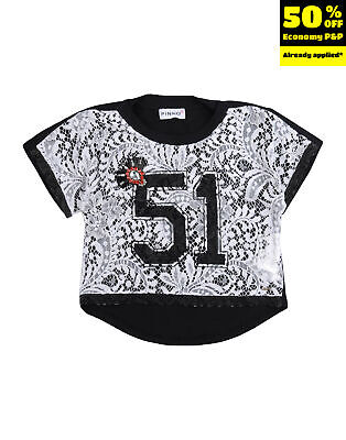 RRP €105 PINKO UP Top Blouse Size S / 6Y Lace Front Dipped Hem Rhinestones