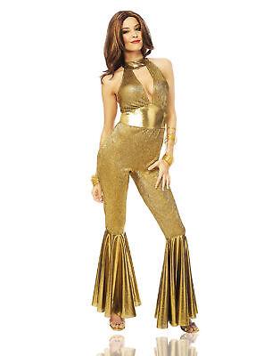 Gold Disco Diva 70S Tanz Party Erwachsene Damen Halloween - Gold Disco Diva Kostüm