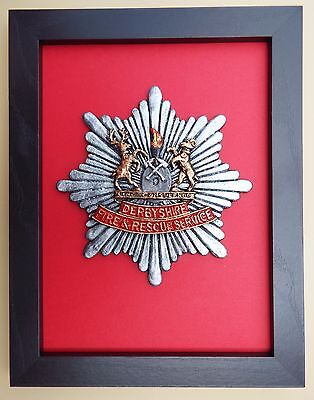 Large Scale Framed DERBYSHIRE FIRE & RESCUE SERVICE Badge Plaque