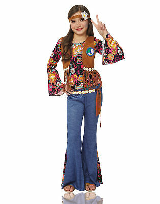 Flower Child Halloween Costumes (Peace Out Girls Hippie 70S Flower Child Halloween)
