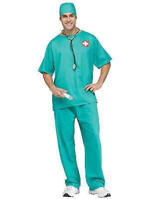 Aquamarin Chirurg Scrubs Arzt Pflegepersonal Kostüm Erwachsene Herren Halloween