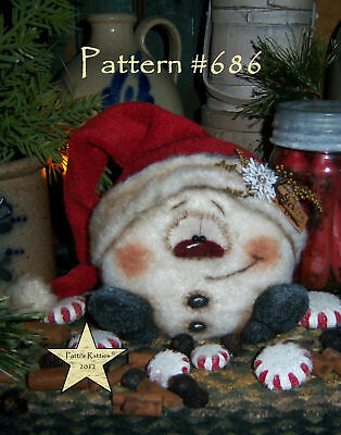 Patti's Ratties Primitive Christmas Snowman Snowflake Doll Paper Pattern 686
