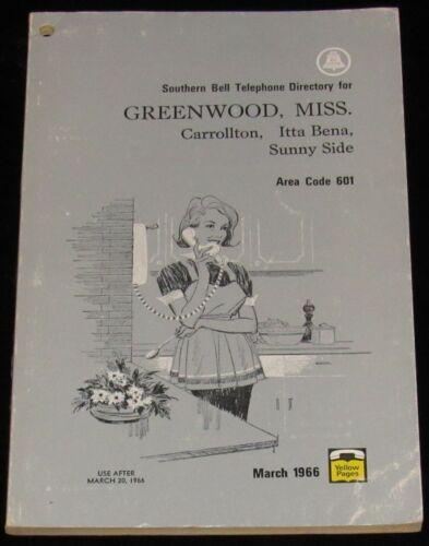 1966 MISSISSIPPI TELEPHONE DIRECTORY, GREENWOOD, CARROLLTON, ITTA BENA