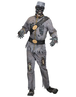 Grey Confederate Zombie Soldier Uniform Adult Mens Halloween Costume