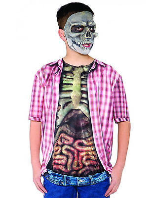Photo Real Skeleton Zombie With Guts Top Horror Boys Halloween Costume