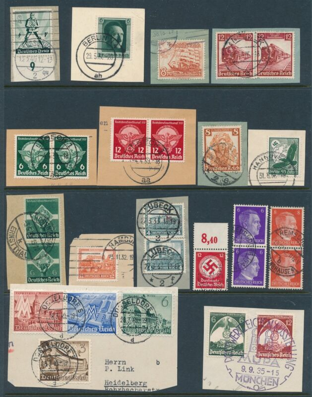 Lot Stamp Germany WWII 3rd Reich Hitler Train Nuremburg Sets on Paper CTO Used