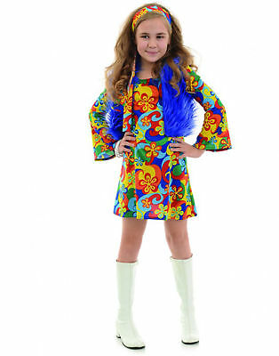 Far Out Rainbow Flower Child 70S Hippie Girls Halloween - Girls Hippy Costume