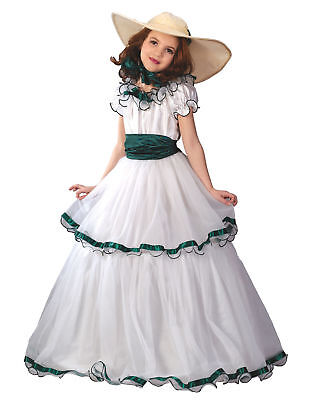 White Green Southern Belle Hoop Gown Girls Halloween Costume](Southern Belle Girl Costume)