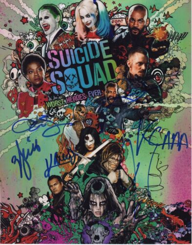 SUICIDE SQUAD CAST SIGNED 11X14 PHOTO MARGOT ROBBIE WILL SMITH AUTOGRAPH SDCC