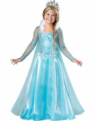 Snow Princess Blue Snowflake Ice Queen Girls Elsa Halloween Costume