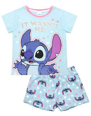 Disney Lilo And Stitch Girl's Blue Short Pyjama Set