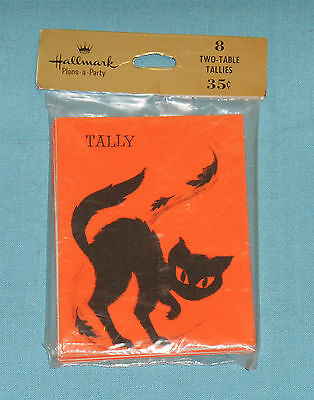 vintage Hallmark HALLOWEEN TALLY CARDS MIP new/sealed black cat with leaves