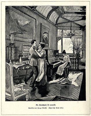 Hugo Wolff ( Die Herrschaft ist verreist ) Künstlergraphik Holzstich um 1897