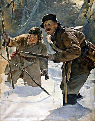 Javelineers (Bear hunting) by Julian Falat. War Art Repro on Canvas or (Julian Bear)