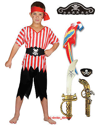 Boys Kids Childs PIRATE Fancy Dress Costume Hat, Sword, Gun, Eye Patch, Parrot  - Kids Pirate