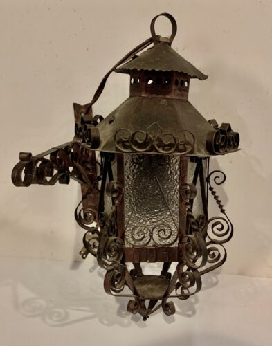 """MEXICO Antique Vintage Metal Bronze ARTS & CRAFTS 14"""" Wall Light Glass Sconce"""