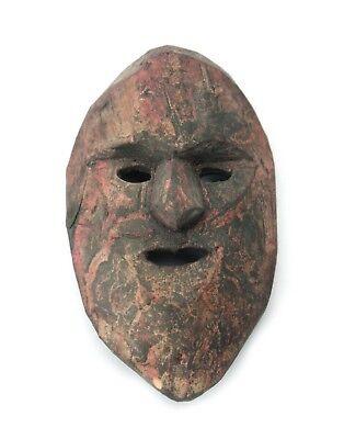 Miniature Wooden Tribal Mask, Nepal, B. 11.5cm high. Old Nepal Original.
