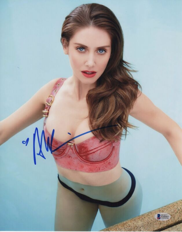 ALISON BRIE SIGNED PHOTO 11X14 SEXY BIKINI WET AUTOGRAPH BAS PSA
