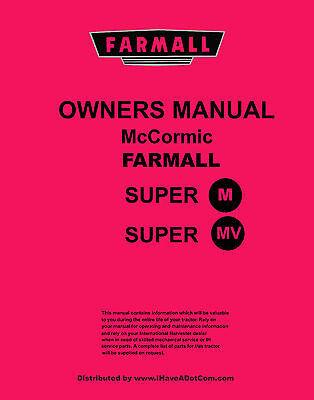 Farmall Super M  Mv Tractor Operators Manual