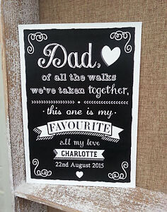 Personalised dad of all the walks father of the bride chalkboard