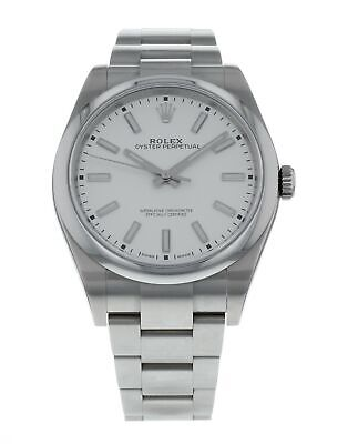 Rolex Oyster Perpetual Automatic White Dial Men's 39mm Steel Watch 114300