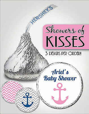 Custom PINK NAUTICAL Chevron Hershey Kiss Labels-Anchor-Girl Baby Shower Favors - Nautical Baby Shower Favors