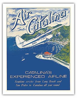- Santa Catalina Island California Vintage Airline Travel Art Poster Print Giclée