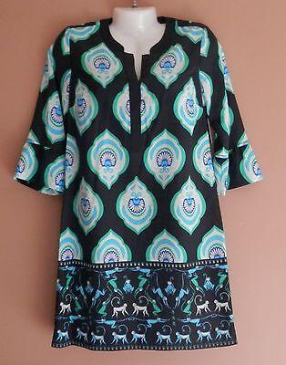 NEW Womens Crown & Ivy Navy Blue Mint Rainforest Hues Monkey Print Dress Size 2