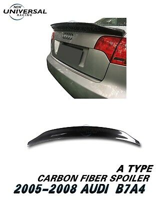 Carbon Fiber Rear Trunk Spoiler Wing For 2005-2008 Audi A4 B7 Sedan 4dr Type A