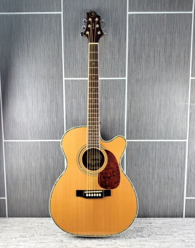 Samick Greg Bennett OM8CE Six String Acoustic Electric Guitar w Built In Tuner
