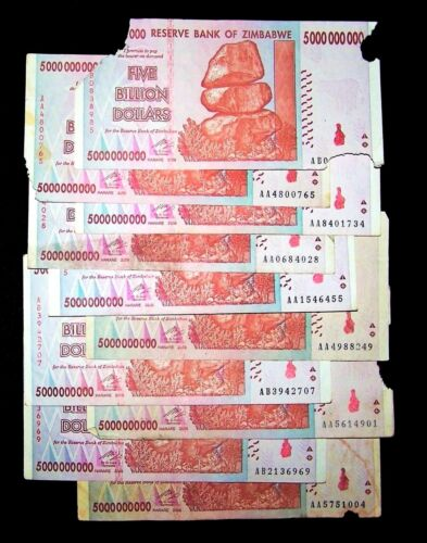 10 x Zimbabwe 5 Billion Dollar banknotes-2008/AA&AB/DAMAGED CONDITION