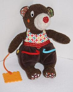 MOUSE-CHEESE-TEETHER-12-034-Brown-Plush-Teddy-Bear-Pockets-Soft-Toy-Stuffed-Animal
