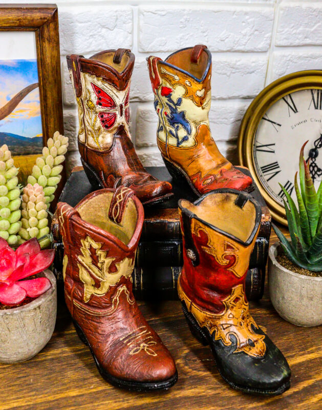 Set of 4 Rustic Western Tooled Leather Finish Cowboy Boots Miniature Figurines