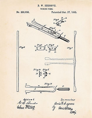 1885 Tuning Fork Patent Print For Music Lovers Musicians Best Cool Music