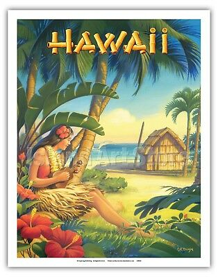 Hawaii - Hula Dancer - Kerne Erickson - Vintage Travel Poster Fine Art Print
