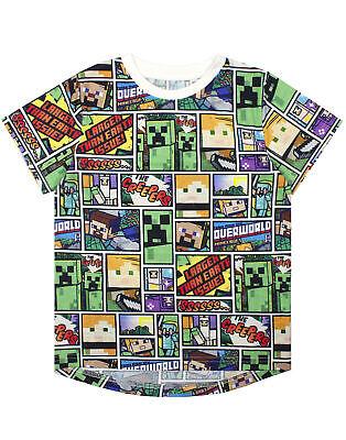 Minecraft Overworld Steve Creeper Boy's Short Sleeve T-shirt