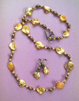 Goldenrod YELLOW MOTHER PEARL Nuggets necklace BRONZE HANDCRAFTED