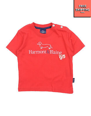 HARMONT & BLAINE JUNIOR T-Shirt Top Size 12M Coated Logo Front Made in Italy