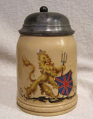 Mettlach Lidded Stein 1/2 L # 285 with Griffin and Trident Coat of Arms