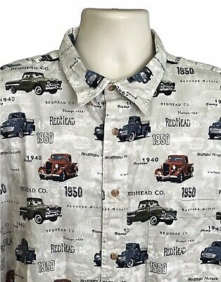 1940s Men's Shirts, Sweaters, Vests Redhead Men's Shirt Vintage 1940s 50s Trucks Short Sleeve Button Cotton 2XL $26.99 AT vintagedancer.com