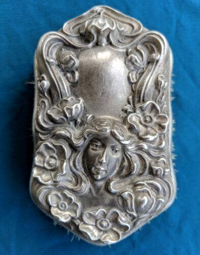 Antique Art Nouveau High Repousse Sterling Silver Woman