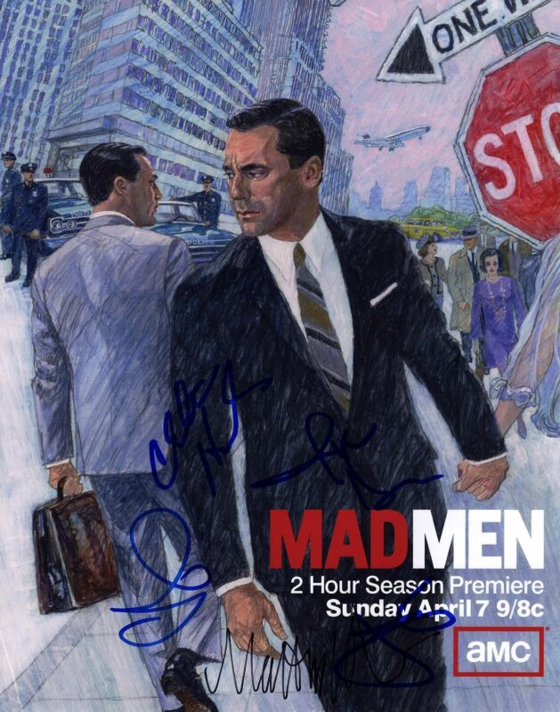 JON HAMM CHRISTINA HENDRICKS SIGNED 11X14 MAD MEN PHOTO! JANUARY JONES AUTOGRAPH