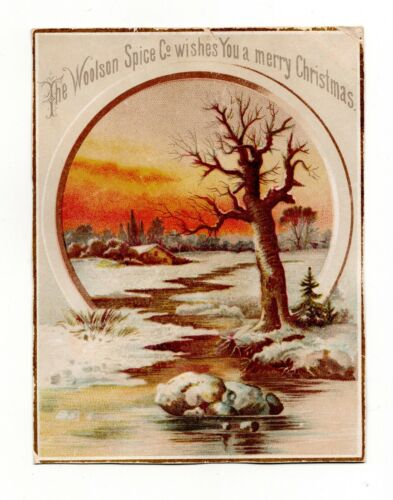 Vintage Victorian Antique Woolson Spice Co. Coffee Christmas Trade Card