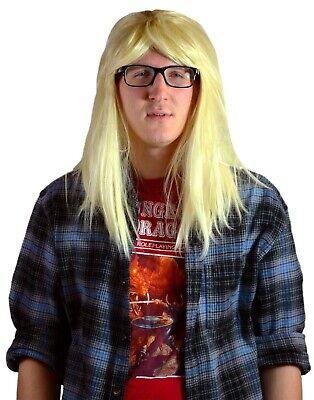Mens Long Hair Halloween Costumes (Men's Garth Long Blonde Rocker Hair Party On Adult Costume Halloween Costume)